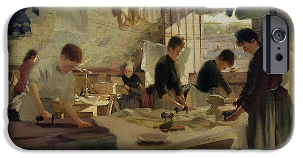 Laundry Paintings iPhone Cases - Ironing Workshop in Trouville iPhone Case by Louis Joseph Anthonissen