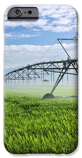 Crops iPhone Cases - Irrigation equipment on farm field iPhone Case by Elena Elisseeva