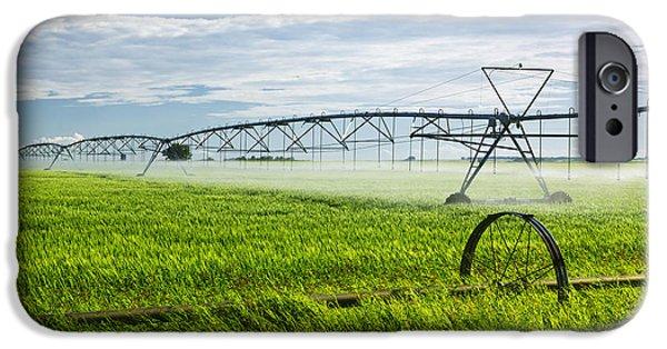 Technology iPhone Cases - Irrigation on Saskatchewan farm iPhone Case by Elena Elisseeva