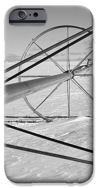 IRRIGATION PIPE IN WINTER iPhone Case by Theresa Tahara