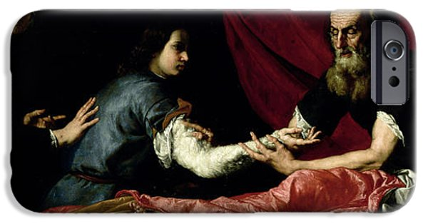 Blind iPhone Cases - Isaac Blessing Jacob, 1637 Oil On Canvas iPhone Case by Jusepe de Ribera