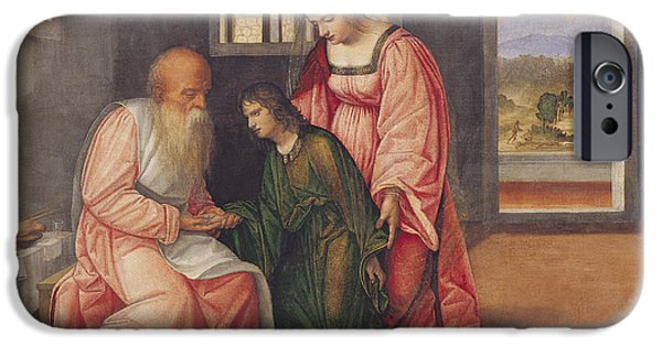 Plotting Paintings iPhone Cases - Isaac Blessing Jacob iPhone Case by Girolamo da Treviso II