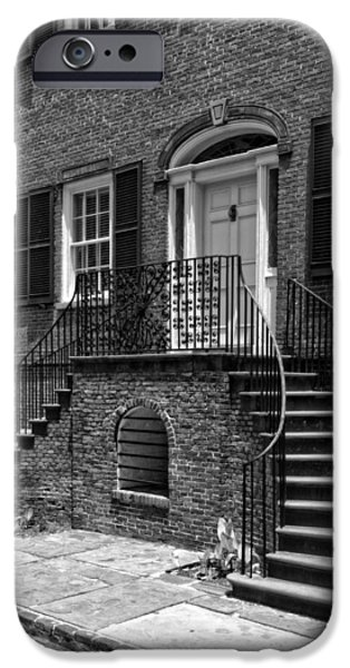 District Columbia Photographs iPhone Cases - Isaiah Davenport House in Black and White iPhone Case by Greg and Chrystal Mimbs