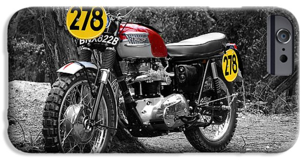 Steve Mcqueen iPhone Cases - ISDT Triumph Steve McQueen iPhone Case by Mark Rogan
