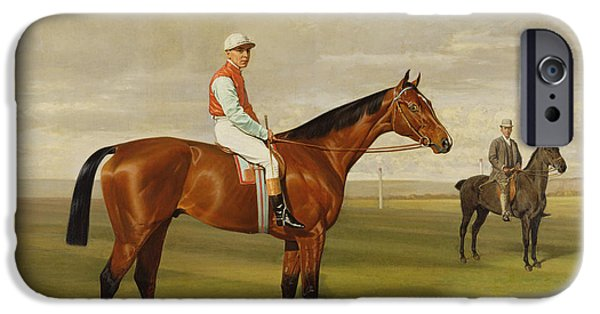 Race Horse Paintings iPhone Cases - Isinglass Winner of the 1893 Derby iPhone Case by Emil Adam