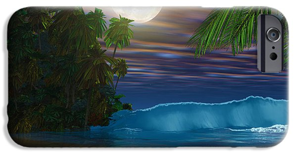 Moon Beach iPhone Cases - Island Beach iPhone Case by Corey Ford