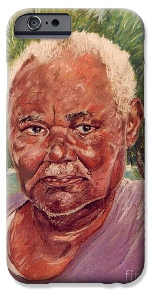 Character Portraits Pastels iPhone Cases - Island Fisherman iPhone Case by John Clark