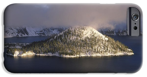 Snow Scene iPhone Cases - Island In A Lake, Wizard Island, Crater iPhone Case by Panoramic Images