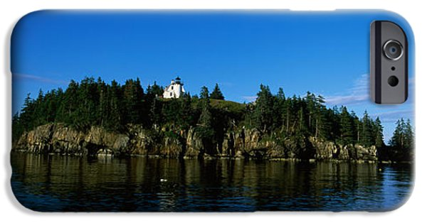 New England Lighthouse iPhone Cases - Island In The Sea, Bear Island iPhone Case by Panoramic Images