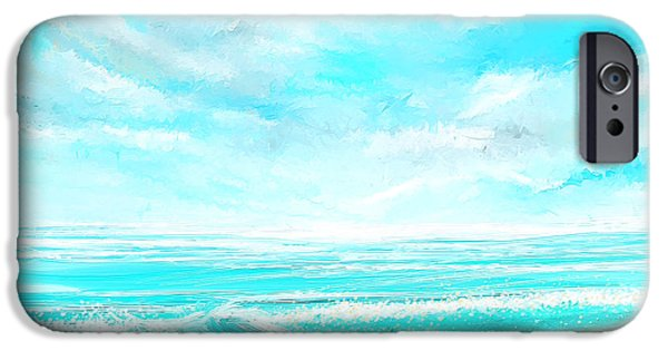 Abstract Seascape iPhone Cases - Island Memories - Seascapes Abstract Art iPhone Case by Lourry Legarde