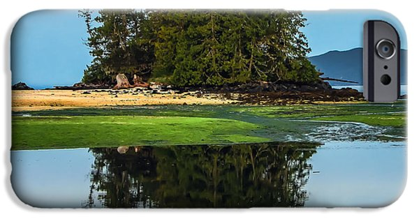 Queen Charlotte Strait iPhone Cases - Island Reflection iPhone Case by Robert Bales