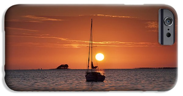 Sailboats iPhone Cases - Island Sunset iPhone Case by Bill Cannon