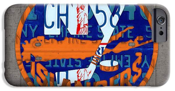 Hockey Mixed Media iPhone Cases - Islanders Hockey Team Retro Logo Vintage Recycled New York License Plate Art iPhone Case by Design Turnpike