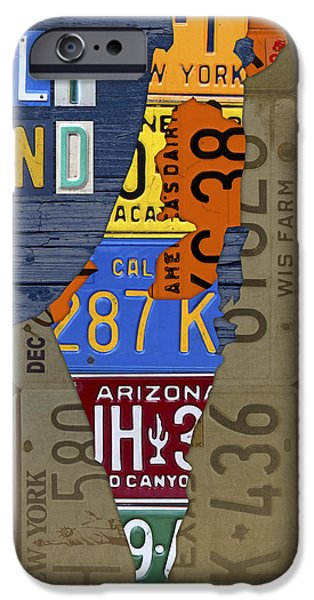 Jordan Mixed Media iPhone Cases - Israel The Holy Land Map Made with Recycled USA License Plates iPhone Case by Design Turnpike