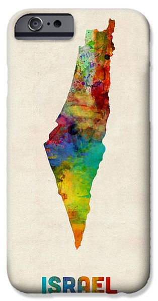 Maps - iPhone Cases - Israel Watercolor Map iPhone Case by Michael Tompsett