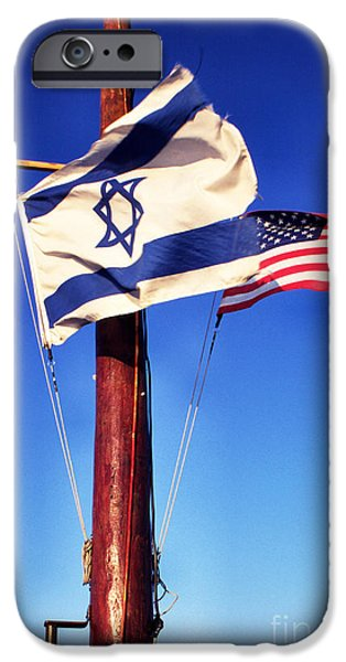Loaves And Fish iPhone Cases - Israeli Flag and US Flag iPhone Case by Thomas R Fletcher