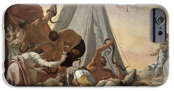 Serpent iPhone Cases - Israelites Afflicted With The Brazen Serpent Oil On Canvas iPhone Case by Simon Vouet