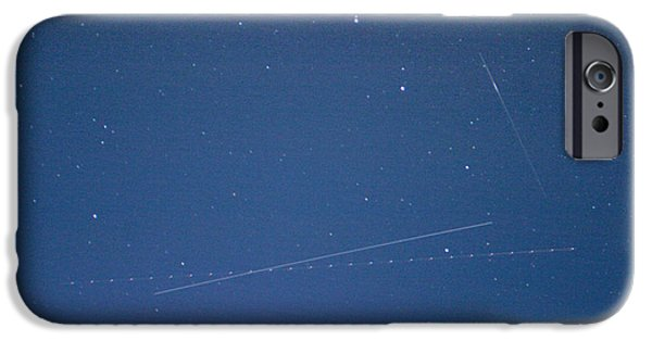 Constellations iPhone Cases - Iss, Airplane, Meteor, And The Big iPhone Case by John Chumack