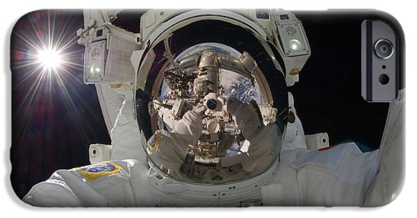 Space-craft iPhone Cases - ISS Expedition 32 Spacewalk iPhone Case by Nasa Jsc