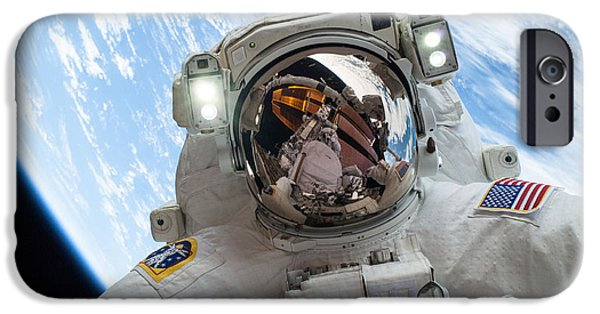 Space-craft iPhone Cases - Iss Expedition 38 Spacewalk iPhone Case by Science Source