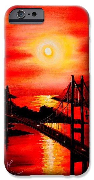 Bob Ross Paintings iPhone Cases - Istanbul Bridge iPhone Case by Shirwan Ahmed