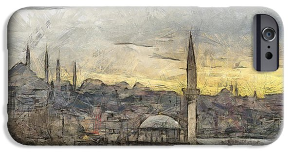 Culture Pastels iPhone Cases - Istanbul Cityscape Digital Drawing iPhone Case by Antony McAulay