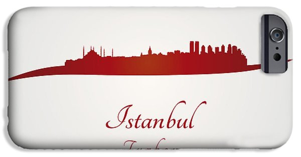 Istanbul iPhone Cases - Istanbul skyline in red iPhone Case by Pablo Romero