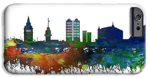 Istanbul iPhone Cases - Istanbul Skyline Watercolor iPhone Case by Celestial Images