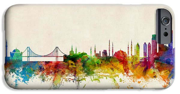 Istanbul iPhone Cases - Istanbul Turkey Skyline iPhone Case by Michael Tompsett