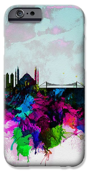 Istanbul iPhone Cases - Istanbul Watercolor Skyline iPhone Case by Naxart Studio