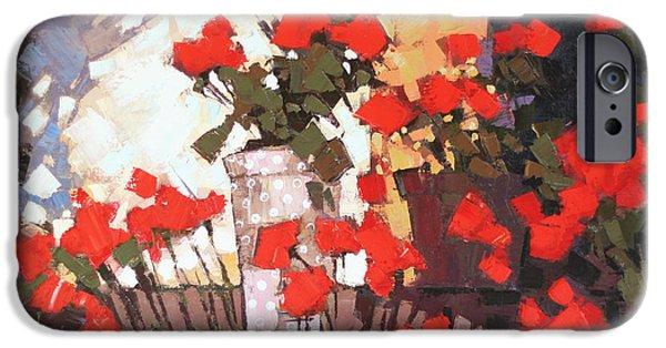 Red Geraniums iPhone Cases - It is noon iPhone Case by Anastasija Kraineva
