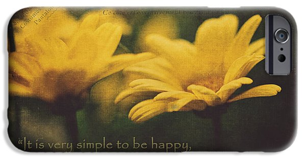 Quotation iPhone Cases - It Is Very Simple To Be Happy... iPhone Case by Maria Angelica Maira
