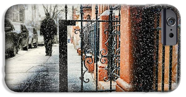 Snowy Day iPhone Cases - It Snows in Harlem iPhone Case by Diana Angstadt