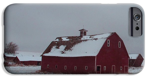 Best Sellers -  - Red Barn In Winter iPhone Cases - It Stood Forever iPhone Case by Abigail Ellison