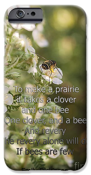 Nature Abstract iPhone Cases - It Takes One Clover And A Bee iPhone Case by Janice Rae Pariza