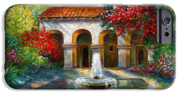 Europa Paintings iPhone Cases - Italian Abbey garden scene with fountain iPhone Case by Gina Femrite