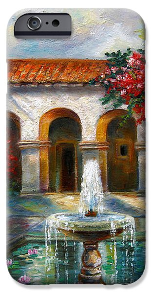 Italian Abbey garden scene with fountain iPhone Case by Gina Femrite
