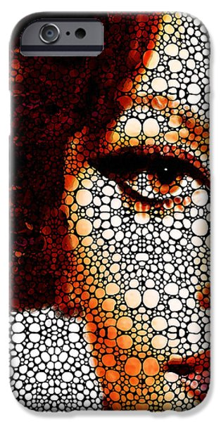 Famous Faces iPhone Cases - Italian Beauty - Portrait Stone Rockd Art By Sharon Cummings iPhone Case by Sharon Cummings