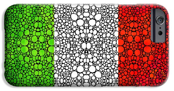 Buying Online Digital iPhone Cases - Italian Flag - Italy Stone Rockd Art By Sharon Cummings Italia iPhone Case by Sharon Cummings
