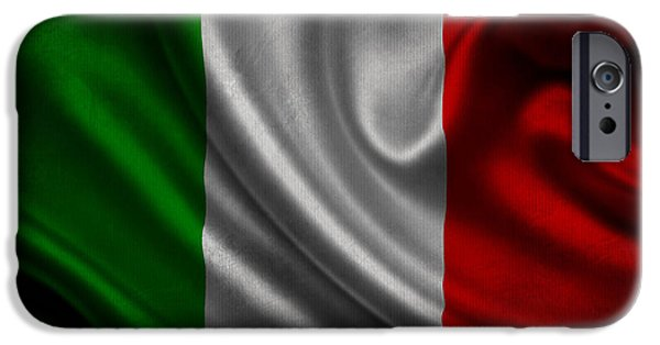 Waving Flag Mixed Media iPhone Cases - Italian flag waving on canvas iPhone Case by Eti Reid