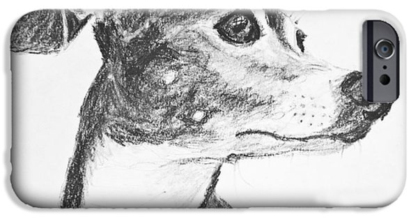 Rescued Greyhound iPhone Cases - Italian Greyhound Sketch in Profile iPhone Case by Kate Sumners