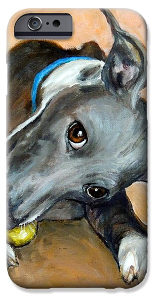Dog With Tennis Ball iPhone Cases - Italian Greyhound with Ball iPhone Case by Dottie Dracos