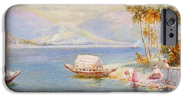 Beautiful Scenery Paintings iPhone Cases - Italian lake iPhone Case by Celestial Images