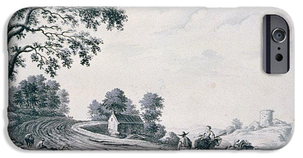 Figure iPhone Cases - Italian Landscape With Peasants And Animals On A Road Drawing iPhone Case by William Beilby