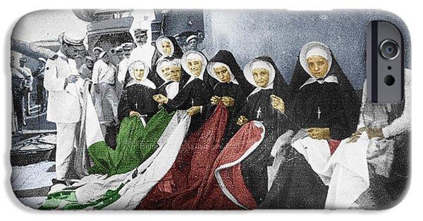 Interior Scene Mixed Media iPhone Cases - Italian Nuns iPhone Case by Tony Rubino