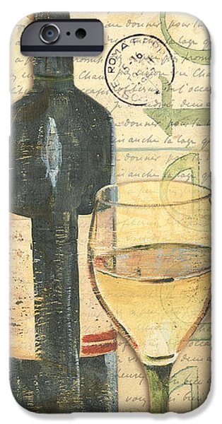Wine Bottles Paintings iPhone Cases - Italian Wine and Grapes 1 iPhone Case by Debbie DeWitt