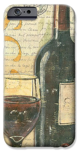Wine Glasses Paintings iPhone Cases - Italian Wine and Grapes iPhone Case by Debbie DeWitt