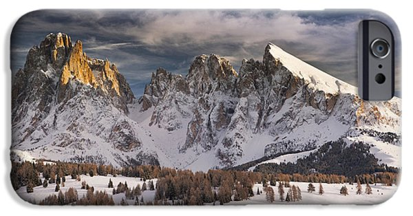 Snowy Day iPhone Cases - Italy, Dolomites Alps,sassolungo iPhone Case by Tips Images