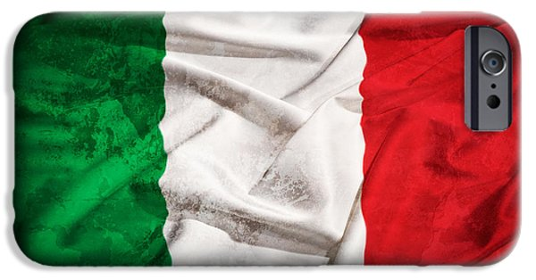 Freedom Tapestries - Textiles iPhone Cases - Italy grunge flag on a silk drape iPhone Case by Stefano Carniccio