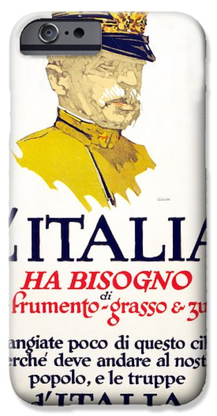 Wwi Drawings iPhone Cases - Italy Has Need Of Meat, Wheat, Fat iPhone Case by George Illian